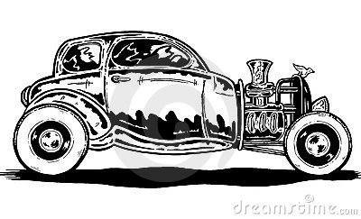 Vintage style Hotrod car illustration