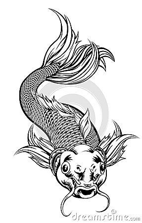 Free Vintage Style Koi Carp Fish Royalty Free Stock Photo - 104234405