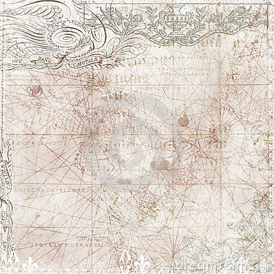 Vintage style map background with victorian motifs