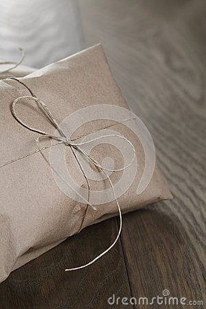 Vintage style parcel wrapped with rope