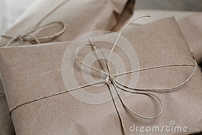 Vintage style parcels wrapped with rope