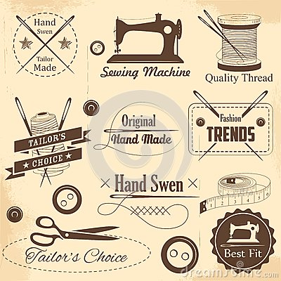 Free Vintage Style Sewing And Tailor Label Stock Image - 42508521