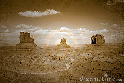 Vintage Style Stained Image of Monument Valley Lan