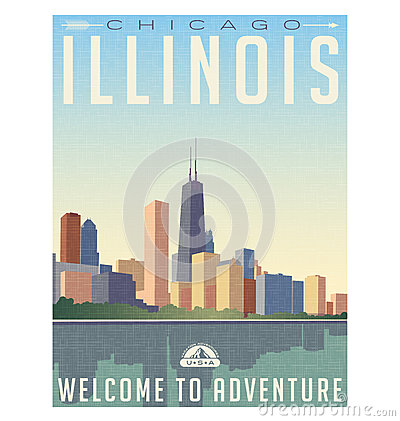 Free Vintage Style Travel Poster Of Chicago Illinois Skyline Royalty Free Stock Photography - 60787237