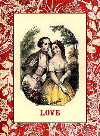 Vintage style valentine card with couple drawing