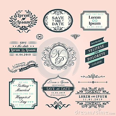 Vintage Style Wedding border and frames