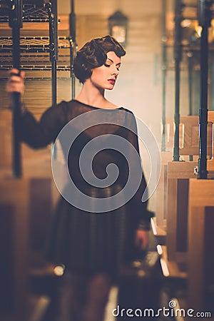 Free Vintage Style Woman Inside Retro Train Stock Photos - 39766083