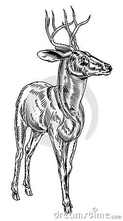 Vintage style woodcut stag deer