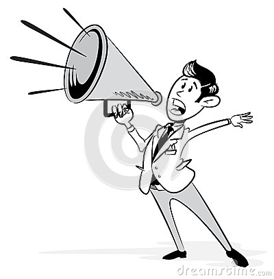 Vintage Styled Businessman with his Megaphone