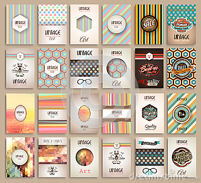 Free Vintage Styles Brochure Templates Set With Labels Royalty Free Stock Images - 55333989