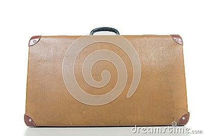 Vintage suitcase isolated on white.
