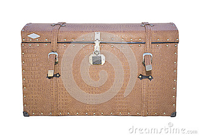 Vintage suitcase on the rear of the car