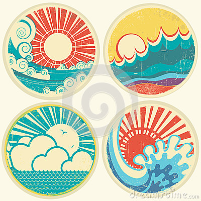 Vintage sun and sea waves. Vector icons of  illust