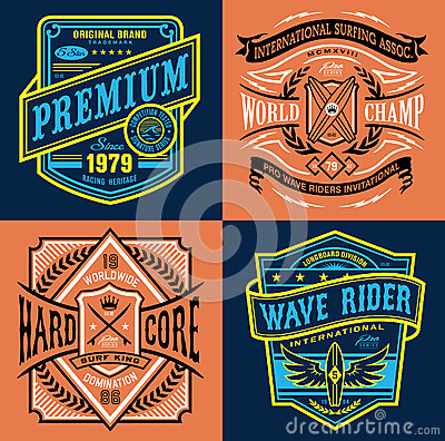 Free Vintage Surfing Emblem T-shirt Graphics Stock Images - 69586324