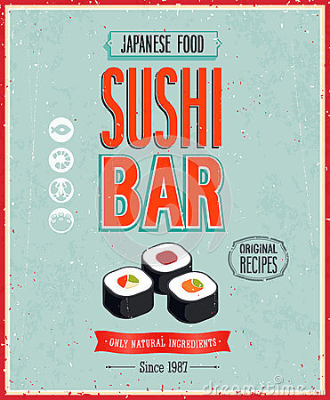 Free Vintage Sushi Bar Poster. Vector Illustration. Stock Images - 33213264