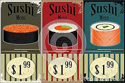 Vintage Sushi Labels