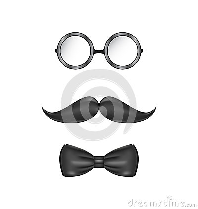 Vintage symbolic of a man face, glasses, mustache