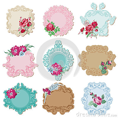 Free Vintage Tags And Frames With Flowers Royalty Free Stock Photos - 29101828