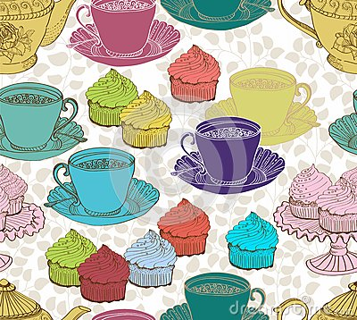 Vintage tea background. seamless pattern