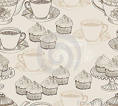 Vintage tea background. seamless pattern