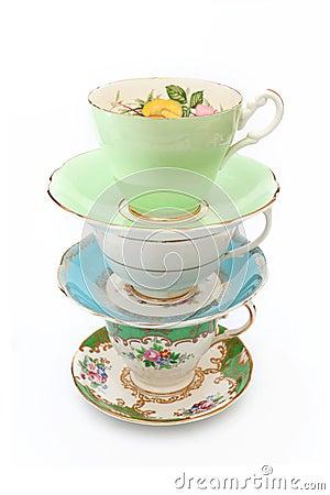Free Vintage Tea Cups Royalty Free Stock Photo - 50264255