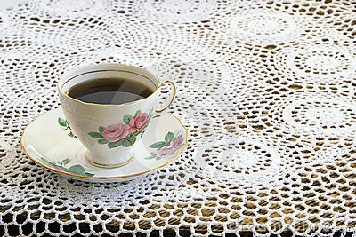 Vintage Teacup on Crochet Tablecloth