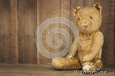 Vintage Teddy Bear on Bookshelf