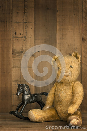 Vintage Teddy Bear and Rocking Horse