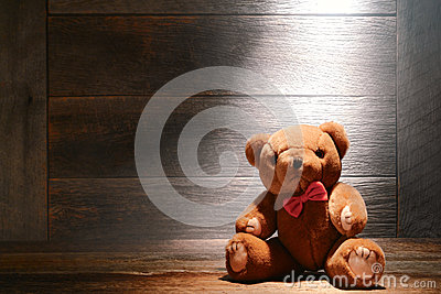 Vintage Teddy Bear Toy in Dusty Old House Attic