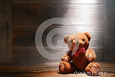 Vintage Teddy Bear Toy in Dusty Old House Attic