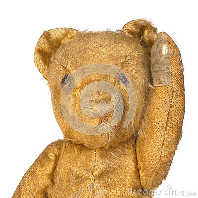 Vintage Teddy Bear Waving over White