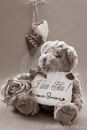 Free Vintage Teddy Bear With Valentine`s Greetings Royalty Free Stock Photography - 22936277