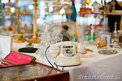Vintage telephone on Parisian flea market