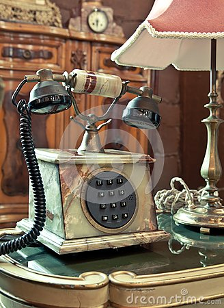 Vintage telephone on the table