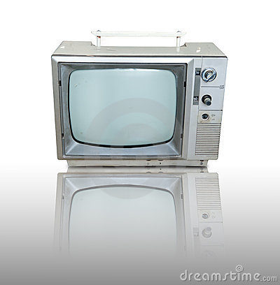 Vintage television  with reflection