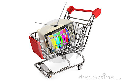 Vintage television in shopping cart