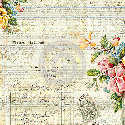 Vintage Text Background with Floral frame