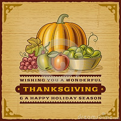 Free Vintage Thanksgiving Card Stock Photo - 45382830