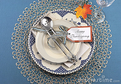 Vintage Thanksgiving Dinner Table Place Setting Stock