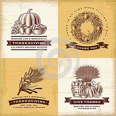 Free Vintage Thanksgiving Labels Set Royalty Free Stock Image - 44612236