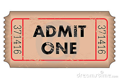 Old fashioned movie ticket template