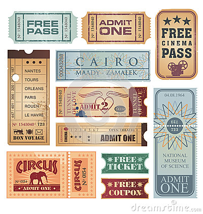 Free Vintage Tickets Vector Set Stock Images - 27305404