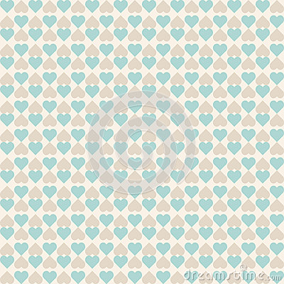 Vintage tiling seamless pattern with hearts. Abstract retro ornament made of simple geometric shapes Vector Illustration