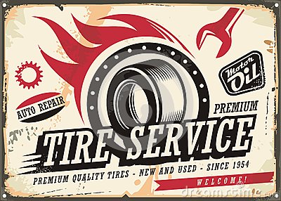 Vintage tin sign for tire service Vector Illustration