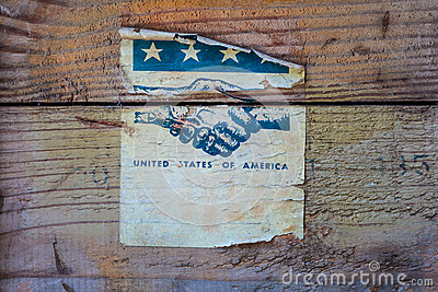 Vintage torn label of the United States of America