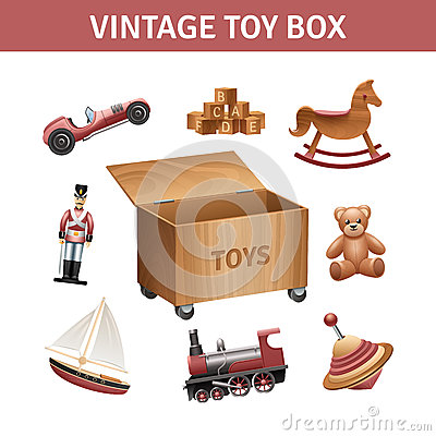Free Vintage Toy Box Set Royalty Free Stock Photography - 59075917