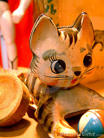 Vintage Toy Kitty Cat with a Ball