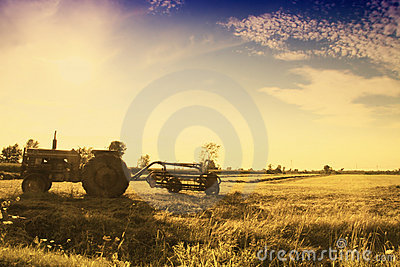 Vintage Tractor In Field Royalty Free Stock Photography - Image: 21120567