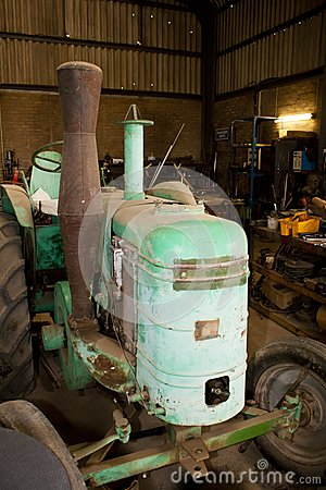 Vintage tractor in workshop