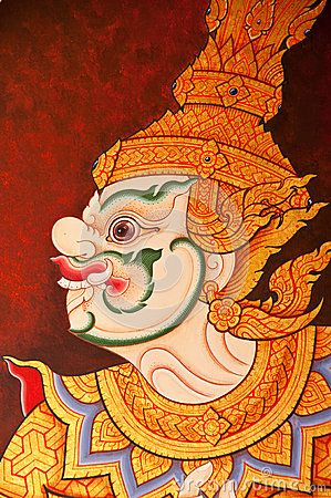 Vintage traditional Thai style art painting